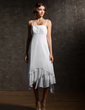 Empire Asymmetrical Chiffon Wedding Dress With Lace Cascading Ruffles (002000024)