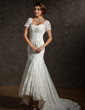 Trumpet/Mermaid Sweetheart Asymmetrical Tulle Wedding Dress With Ruffle Lace Beading (002011616)