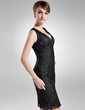 Sheath/Column V-neck Knee-Length Lace Mother of the Bride Dress (008016004)
