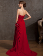 A-Line/Princess Strapless Sweep Train Chiffon Mother of the Bride Dress With Ruffle Beading Flower(s) (008014878)