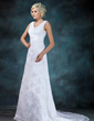 Empire V-neck Court Train Lace Wedding Dress With Ruffle Beading Appliques Lace (002000314)