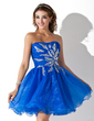 A-Line/Princess Sweetheart Short/Mini Organza Homecoming Dress With Ruffle Beading Sequins (022020858)