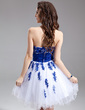 A-Line/Princess Sweetheart Knee-Length Tulle Homecoming Dress With Embroidered Sash Beading Flower(s) (022016299)