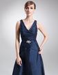 Çan/Prenses V Yaka Uzun Etekli Taffeta Gelin Annesi Elbisesi Ile Büzgü Boncuklama (008006199)