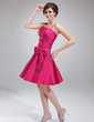 A-Line/Princess Knee-Length Taffeta Homecoming Dress With Ruffle Beading Bow(s) (022010543)