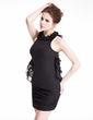 Sheath/Column Scoop Neck Short/Mini Chiffon Cocktail Dress With Cascading Ruffles (016008865)