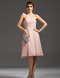A-Line/Princess Strapless Knee-Length Chiffon Homecoming Dress With Ruffle (022007273)