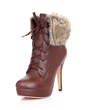 Leatherette Stiletto Heel Ankle Boots Snow Boots With Lace-up Fur shoes (088033837)