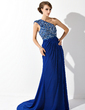 A-Line/Princess One-Shoulder Court Train Chiffon Mother of the Bride Dress With Ruffle Lace Beading Sequins (008006081)