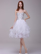 A-Line/Princess Sweetheart Knee-Length Organza Cocktail Dress With Beading Cascading Ruffles (016016192)