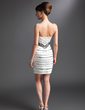 Sheath/Column Sweetheart Short/Mini Satin Cocktail Dress With Beading (016008372)