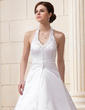 A-Line/Princess Halter Chapel Train Satin Wedding Dress With Ruffle Beading Sequins (002012596)