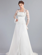 A-Line/Princess Strapless Court Train Chiffon Wedding Dress With Ruffle Lace Beading (002000042)