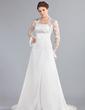 Forme Princesse Sans bretelle Traîne moyenne Mousseline Robe de mariée avec Plissé Dentelle Emperler (002000042)