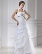 A-Line/Princess Halter Floor-Length Taffeta Tulle Wedding Dress With Beading (002015464)