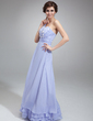 A-Line/Princess One-Shoulder Floor-Length Chiffon Prom Dress With Ruffle Flower(s) (018022524)