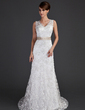 A-Line/Princess V-neck Court Train Lace Wedding Dress With Sash Beading Bow(s) (002000171)