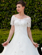 Ball-Gown Off-the-Shoulder Chapel Train Organza Wedding Dress With Ruffle Lace Beading (002011562)