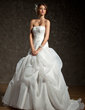 A-Line/Princess Strapless Chapel Train Satin Organza Wedding Dress With Ruffle Lace Beading (002011793)