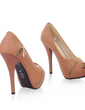 Leatherette Stiletto Heel Sandals Platform Peep Toe With Zipper shoes (085022923)