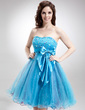 Empire Sweetheart Knee-Length Tulle Homecoming Dress With Beading Sequins Bow(s) (022016310)