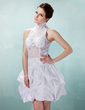 A-Line/Princess High Neck Short/Mini Taffeta Cocktail Dress With Ruffle Beading Appliques Lace (016008897)