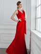 Trumpet/Mermaid V-neck Floor-Length Taffeta Bridesmaid Dress With Ruffle Bow(s) (007004161)