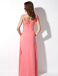 A-Line/Princess Scoop Neck Floor-Length Chiffon Bridesmaid Dress With Ruffle (007001873)