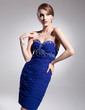 Sheath/Column Sweetheart Knee-Length Chiffon Cocktail Dress With Ruffle Beading Appliques Lace (016021250)