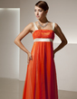 Empire Square Neckline Floor-Length Chiffon Holiday Dress With Ruffle Sash (020025838)