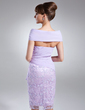Sheath/Column Off-the-Shoulder Knee-Length Chiffon Lace Mother of the Bride Dress With Beading Cascading Ruffles (008006150)