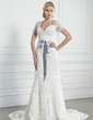 A-Line/Princess V-neck Chapel Train Lace Wedding Dress With Sash Bow(s) (002005247)