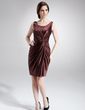 Sheath/Column Scoop Neck Short/Mini Charmeuse Mother of the Bride Dress With Ruffle (008006077)