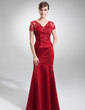 Trumpet/Mermaid V-neck Floor-Length Satin Mother of the Bride Dress With Lace Beading (008005754)
