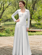 A-Line/Princess Scoop Neck Floor-Length Chiffon Charmeuse Wedding Dress With Ruffle Beading (002012022)