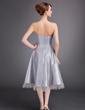 A-Line/Princess Sweetheart Tea-Length Taffeta Bridesmaid Dress With Ruffle Sash Crystal Brooch (007020952)