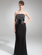 Trumpet/Mermaid Strapless Sweep Train Charmeuse Mother of the Bride Dress With Beading Cascading Ruffles (008006415)