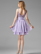 A-Line/Princess V-neck Short/Mini Chiffon Homecoming Dress With Ruffle Beading Sequins (022004341)