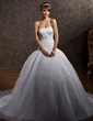 Ball-Gown Sweetheart Chapel Train Satin Organza Wedding Dress With Embroidered Beading (002012106)