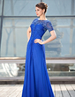 A-Line/Princess Scoop Neck Floor-Length Chiffon Lace Mother of the Bride Dress With Ruffle Beading (008018704)
