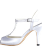 Women's Silk Like Satin Cone Heel Sandals Slingbacks With Ruched (047030353)