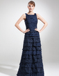 Sheath/Column Square Neckline Floor-Length Taffeta Mother of the Bride Dress With Ruffle (008005614)
