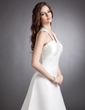 A-Line/Princess Halter Court Train Satin Wedding Dress With Ruffle Beading (002011574)