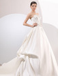 Ball-Gown Sweetheart Chapel Train Satin Wedding Dress With Embroidered Ruffle Beading (002014061)