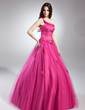 Ball-Gown One-Shoulder Floor-Length Tulle Quinceanera Dress With Beading Appliques Lace (021015630)