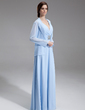 A-Line/Princess V-neck Floor-Length Chiffon Mother of the Bride Dress With Ruffle Beading (008006069)