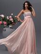 Yüksek Bel Askısız Uzun Etekli Şifon Mezuniyet Elbisesi Ile Boncuklama Pullarda (018022745)