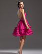 A-Line/Princess Halter Knee-Length Chiffon Homecoming Dress With Ruffle Beading (022021047)