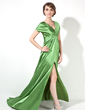 A-Line/Princess V-neck Court Train Charmeuse Evening Dress With Ruffle Split Front (017022522)