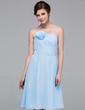 A-Line/Princess Strapless Knee-Length Chiffon Bridesmaid Dress With Ruffle Flower(s) (007037294)
